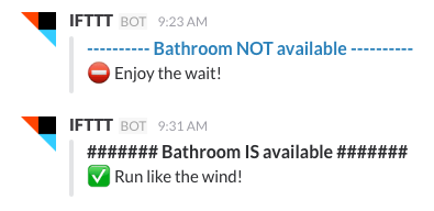 Slack channel showing Bathroombot messages