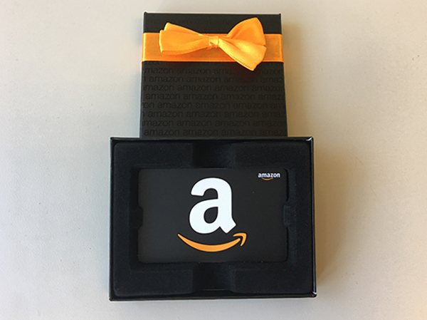 Amazon gift card in a box