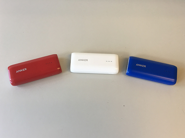 Three portable cellphone chargers