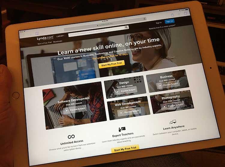 An iPad showing Lynda.com