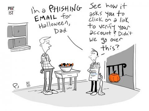 Cartoon with a child dressed for Halloween as a phishing email.