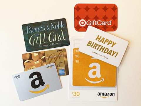 An assortment of gift cards.