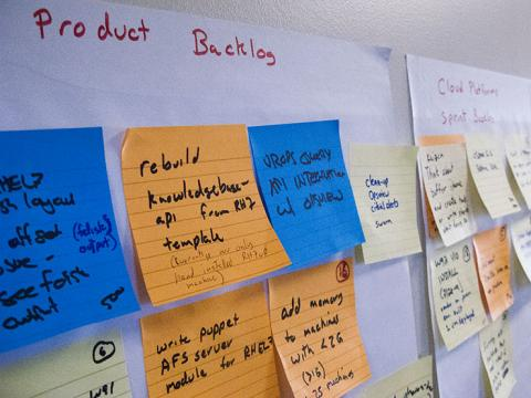 Product backlog showing sticky notes
