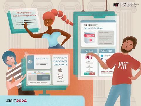 Illustration of three MIT students creating their digital MIT identities.