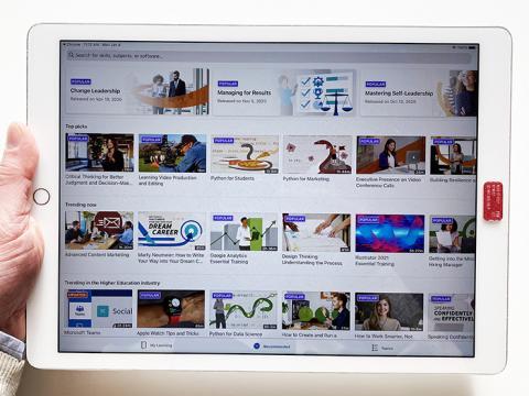 An iPad displaying the LinkedIn Learning home screen.