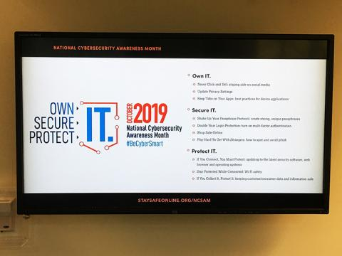 Picture of a screen advertising Natonal Cybersecuity Awareness Month 2019