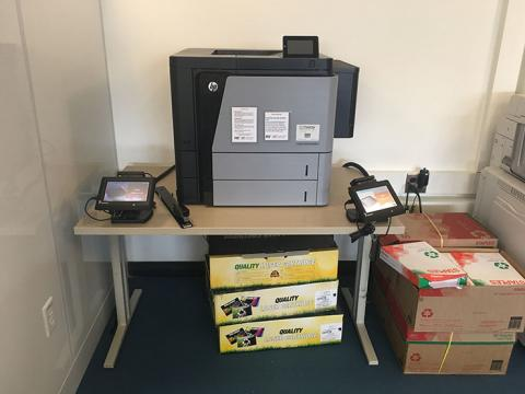 Picture of a Pharos printer on a table.