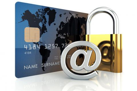 Image of credit card, @ sign and padlock