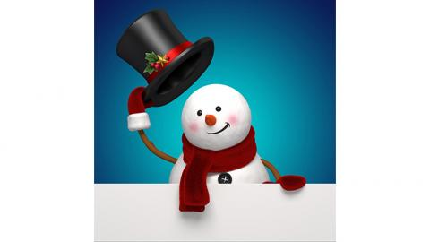 Snowman tipping his hat