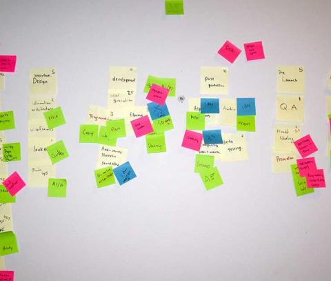 Sticky notes on a Scrum board