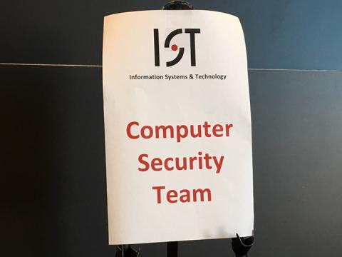 Sign with the words Information Systems and Technology Computer Security Team
