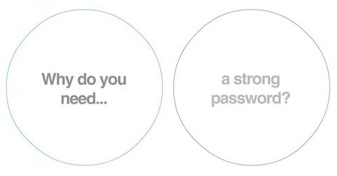 "Image with the words ""Why do you need a strong password?"""