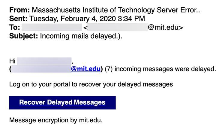 "Phishing email with subject ""Incoming mails delayed"""