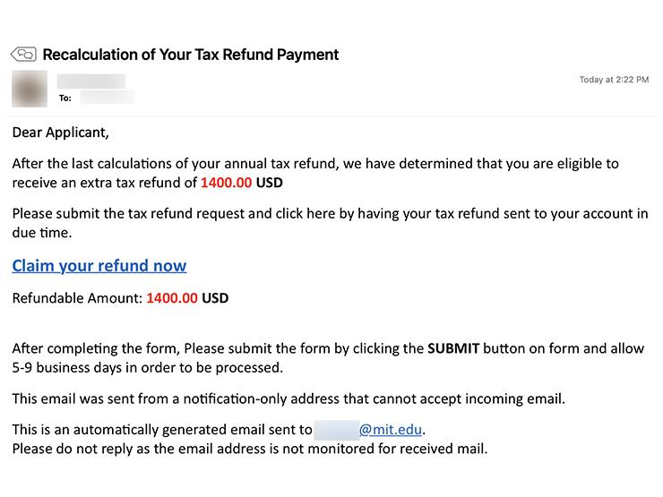 """Screenshot of an email with the subject """"Recalculation of Your Tax Refund Statement"""""""