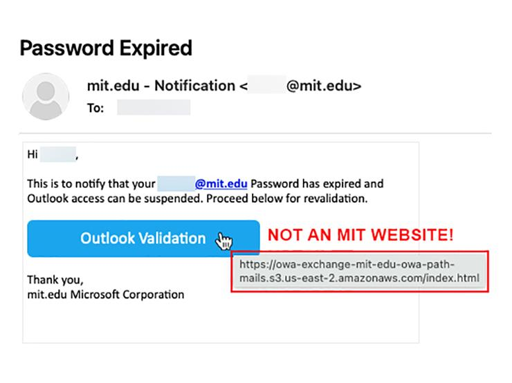 Screenshot of an email with the subject Password Expired