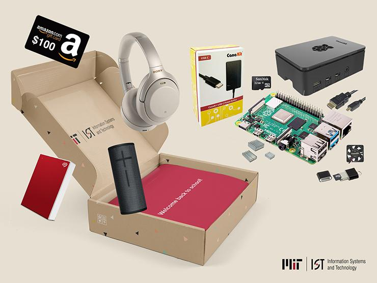 """Illustration showing an open box with the words """"Welcome back to school!"""". Surrounding it are a $100 Amazon gift card, silver Sony noise canceling headphones, a red Seagate One Touch external hard drive, a black Ultimate Ears BOOM 3 Bluetooth speaker, and the contents of a CanaKit Raspberry Pi 4 starter kit. At the bottom is the M-I-T I-S and T logo."""