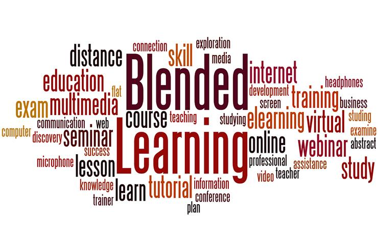 Word cloud including the term Blended Learning in the center
