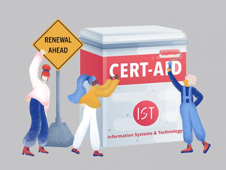 """Illustration of three people standing near a roadsign that says """"Renewal Ahead"""" and painting a large container with a red I-S and T logo and the words Cert-Aid."""