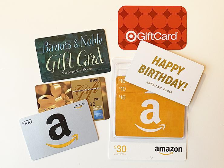An assortment of gift cards.