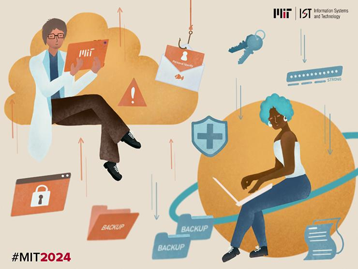 Illustration of MIT students surrounded by cybersecurity symbols.