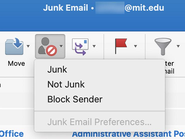 Screenshot of Outlook Junk Email folder with Junk dropdown expanded.