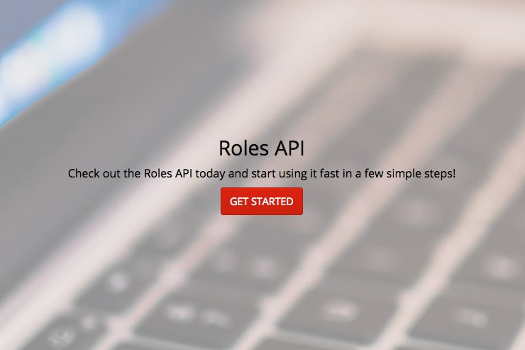 screenshot of Roles API signup