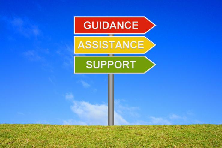 SIgn with three arrows with the words Guidance, Assistance, Support