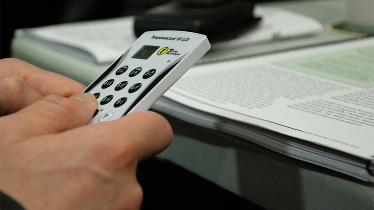 A clicker of the sort used in many MIT classrooms.