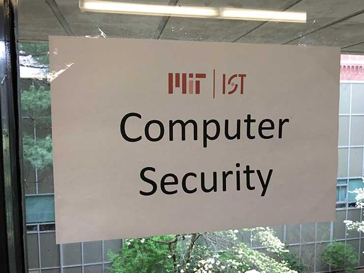 Sign on window that reads Computer Security