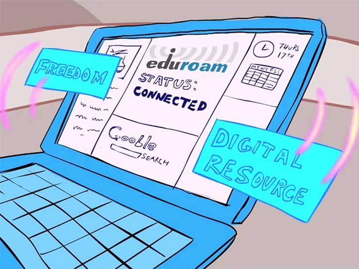 Laptop connected to eduroam Wi-Fi network