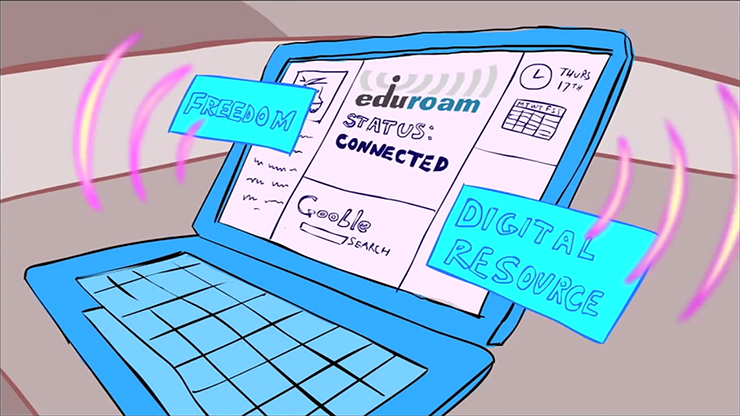 Cartoon drawing of a laptop connecting to the eduroam WiFi network.