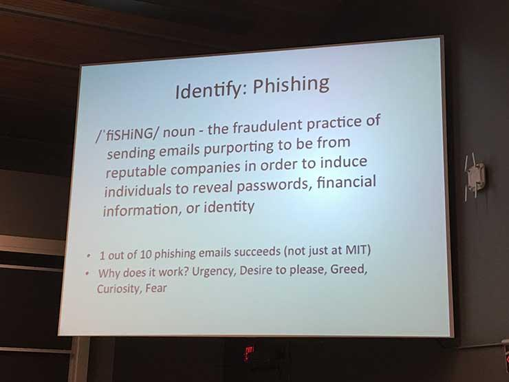 "Picture of a screen with the words ""Identify: Phishing"" and the definition of phishing"