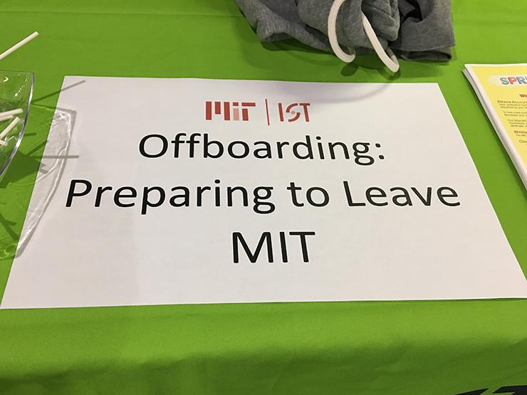 """Picture of a sign that says """"Offboarding: Preparing to Leave MIT"""""""