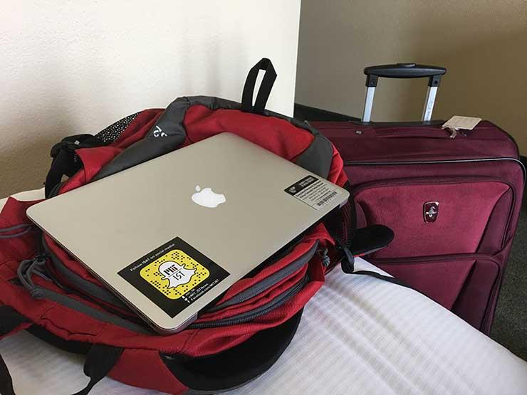 laptop and luggage
